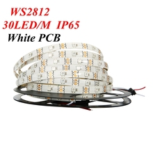 5M White Black PCB 30 led/M 150led WS2812B ws2812 2812 WS2812b IC 5050 RGB LED Strip Light Dream Color Waterproof DC 5V 4PIN(China)