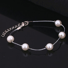 NS23 Cute Romantic Silver Plated Adjustable Bracelets Wire Expandable Simulated Pearl Hand Bracelets Women's Jewelry