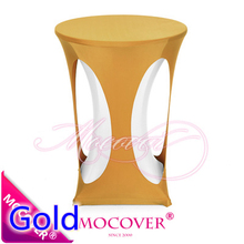 Gold colour lycra high bar table linen spandex tablecloth top cover for wedding banquet and party cocktail table decoration