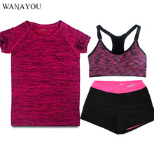 WANAYOU 3Pcs Women Yoga Sets Fitness Top+Bra+Shorts Sport Set Gym Workout Sports Wear Running Clothing