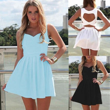 New 2016 Summer Sexy Heart Open Cut Out Back Backless Cocktail Party Mini Dress White/Light Blue/Black(China)