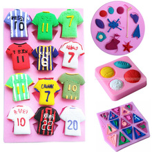 World Cup soccer jerseys fondant silicone mold suit Sports NBA Basketball chocolate mold assembly