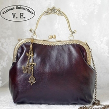 Vintage Embroidery Women Clutch Faux Leather Bags Retro PU Wallet Handmade Metal Frame Handbag Chains PU CorssBody Messenger Bag