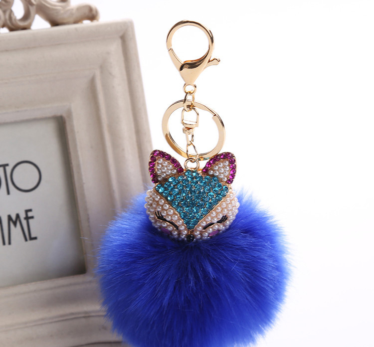 Fox Keychain New Rhinestones fox Key Chain 8cm Faux Fur PomPom Car Key Ring creative Bag Pendant Keychain women gift K1671