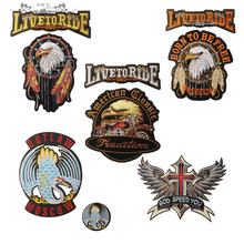 Letter Biker Patches Harley Eagle Flame Badges Embroidered Patches Motorcycles Custom Made Iron On Patches(China)