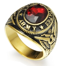 Size 7-15 Gold Tone Plated Stainless Steel Red Ston United States Military Army Ring Signet Navy Airforce Marine Veteran(China)