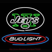 Super Bright Bud Light NY Jets Neon Sign Handcrafted Neon Bulbs Real Glass Tube Decorat Garage Wall Sign Neon Lights 31x24(China)