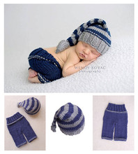 Crochet Baby Clothes Set Hand Knitting Newborn Touca Bebe Sweater Long Tail Hat Pant Sets Infant Sweaters Newborn Prop