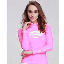 Sbart UPF50+ Pink Long Sleeve Rush Guard Surfing Wet Suit  Diving  And Yoga Show Thin Custom Fit