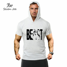 Seven Joe.New Men GYMS Hoodie T-Shirt Cotton short Sleeve fitness Clothing Bodybuilding Slim Fit Sportwear Hoodie hoody T shirt(China)