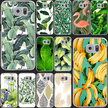 banana leaf pattern Tropical Banana Leaf Pattern Style Hard Transparent Phone Cases Cover for Galaxy S6 edge s5 s4 mini s3 mini