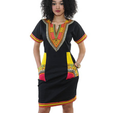 2016 New Summer Dress Sexy Mini African Tranditional Print Dashiki Dress Ladies Dresses Folk Art African Women Dress Clothing(China)