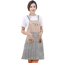 Korean embroidery strap home happy tree aprons kitchen anti-oil pollution fashion linen three trees apron women necessary(China)