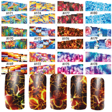 12 Designs Nail Art Beauty Shinning Sky Flower Stamp for DIY nails toes Water Transfer Full Cover Sticker Decals A169-180(China)