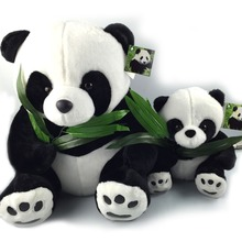 40CM Giant Panda Plush Toys Sit Eat Bamboo Panda Dolls Soft Stuffed Toy Gifts For Girls Kids Best Price High Quality NT030E