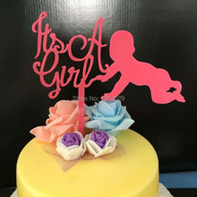 Free Shipping Pink Cake Topper Baby Shower Acrylic Cake Topper Baby First Birthday Party Decorations It's A Girl Cake Topper