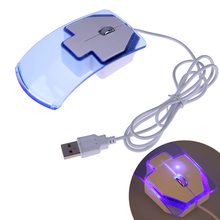 Transparent Crystal Arrow USB Optical Wired Mouse Mice 1200dpi 2 Buttons Computer Mause for PC Laptop Notebook LED(China)