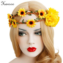 Hansoo Headband sun floral Elastic rubber yellow Headbands Women Wedding Girl Party Hairband ladies Headpiece(China)