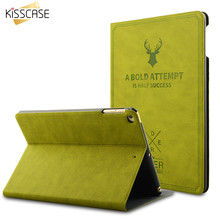 KISSCASE For iPad Mini 1 2 3 Case Leather Smart Awake Sleep Flip Cover Green Deer 3D Carving Back Shell For iPad Mini 3 2 Cases(China)
