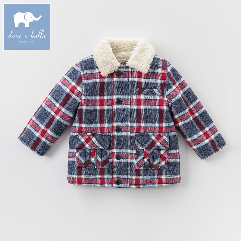 DB5376 dave bella Unisex winter infant baby girl boys fashion Jackets toddler outerwear children plaid hight quality coat<br>