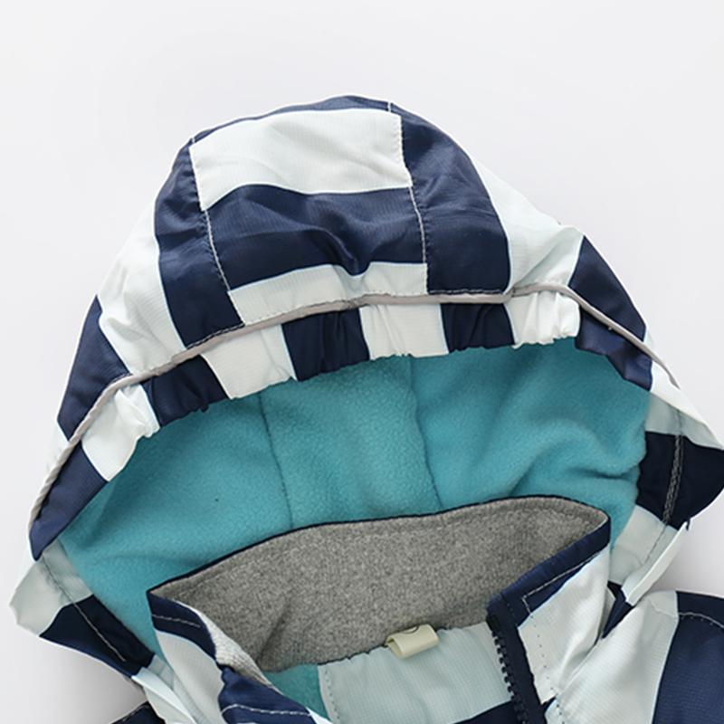 CROAL CHERIE 80-120cm Fashion Star Windproof Striped Jacket For Boys Winter Coat For Girls Children\`s Winter Velvet Clothes (8)