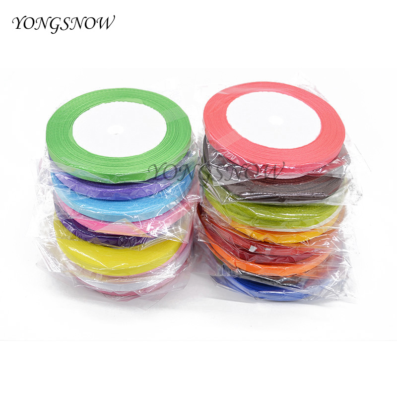 22m/lot 6mm Silk Satin Organza Ribbon Gift Cake Balloon Packaging Wedding Birthday Party Decor Crafts Packing Supplies