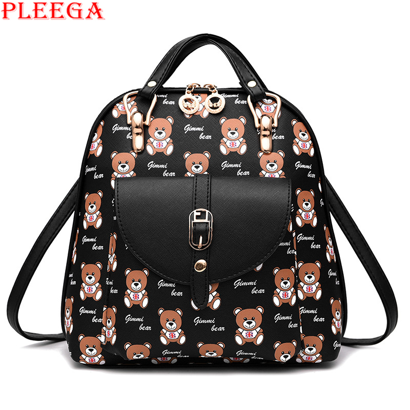 PLEEGA New 2017 Women Lovely Panda Backpack Preppy Style School Bags for Teenagers College Girl PU Cartoon Little Bear Book Bags<br><br>Aliexpress