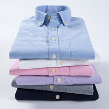 Plus size 6XL Summer Men's Oxford Shirts Long Sleeve Shirt Male Casual Fit Soft Comfort Shirt camisa masculina chemise homme TND(China)