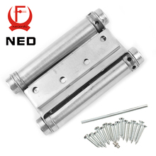 2PCS NED-5107 4 Inch Double Action Spring Door Hinge Stainless Steel Rebound Hinge For Cafe Swing Western Furniture Hardware