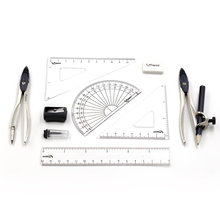 Compass Set for Student with Divider, Set Squares, Ruler, Protractor Total 10 Pieces(Included Box) Drawing Math Geometry Set(China)