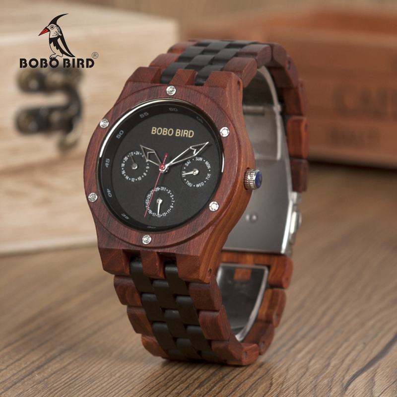 BOBO BIRD WN17 Wooden Watches Mens Brand Designer Luxury Two Colors Wood Band Watch Logo Laser Customized Gift Box Dropshipping<br>