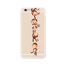For Apple iPhone 4 4S 5 5S 5C 6 6S 6 Plus 6SPlus Super Cute Animal Monkeys Cartoon Design Cell Phone Case Cover