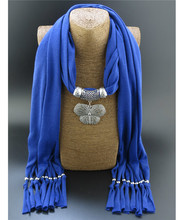Hot Sale Alloy Butterfly Pendent Scarf Necklace Fashion Jewelry Long Pashmina Shawl 180cm Solid Polyester Beaded Scarves New