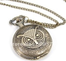 Coupon for wholesale buyer price good quality vintage woman lady girl old style new bronze owl pocket watch necklace with chain