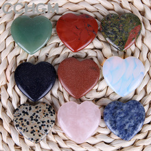 40 Assorted Quartz Aventurine Fluorite Heart Shape pendants Lapis Crystal Chakra Natural Stone Healing beads