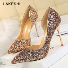 Women Pumps Bling High Heels Women Pumps Glitter High Heel Shoes Woman Sexy Wedding Party Shoes Gold Silver(China)