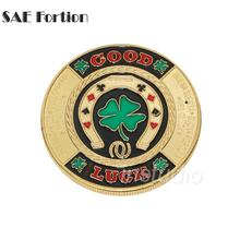 SAE Fortion Gold Plated Casino Challenge Coin Green Clover Good Luck Poker Chips Antique Token Coin JNB7369(China)