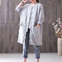 Buy AZURE SHEN New Spring Summer fashion 2018 grey long sleeve thin lace-up big size loose zipper windbreaker coat women QC660 for $36.55 in AliExpress store