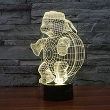 colorful 3D led nightlight Turtle shape 7 Colors Changing 3D creative usb table lamp with touch switch(China)