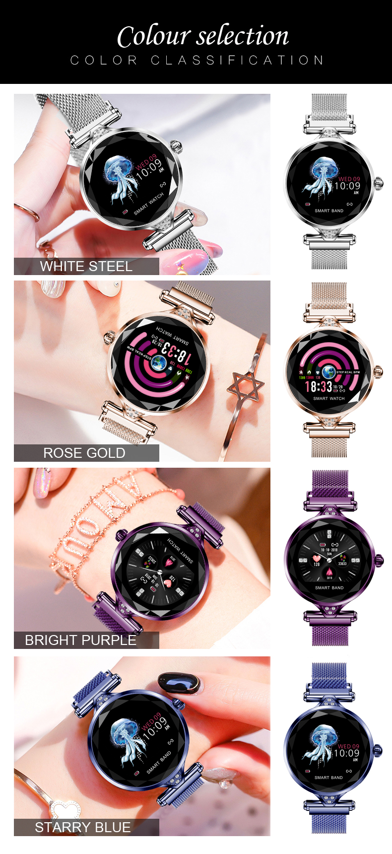 H1 Women Fashion Smartwatch Wearable Device Bluetooth Pedometer Heart Rate Monitor Smart Watch For AndroidIOS Smart Bracelet (2)