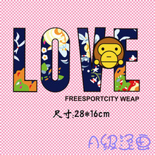 Bape Monkey Heat Transfer Clothes Sticky PET Material Large Washable Powder Pasta Iron on Patches DIY for clothing BJ0302(China)