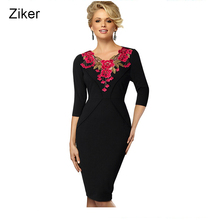 Ziker Brand Vintage Chain Link Fence Hollow Out Women Pencil Dress Autumn Winter Slim Bodycon Knee Length Work Dress vestidos