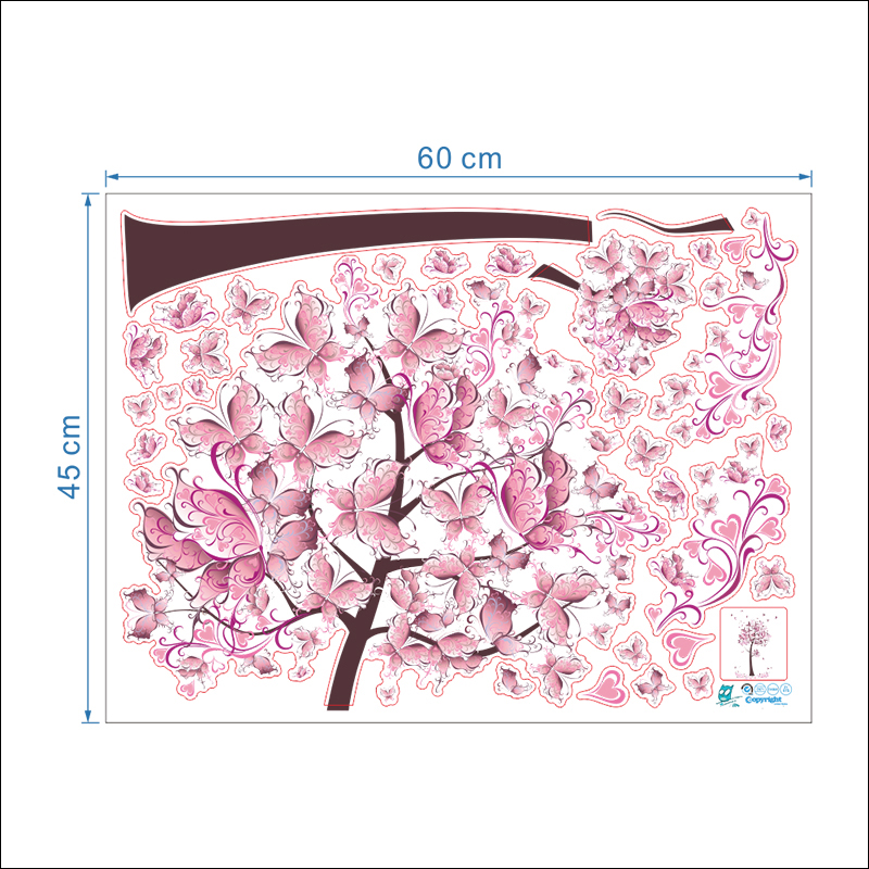 HTB1wqacxpOWBuNjy0Fiq6xFxVXaE - Pink butterfly flower Tree Wall Stickers