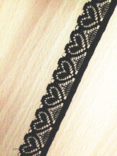 lovely heart shape elastic stretch small lace trim 2cm width black ,gold , ivory , 200meter/lot for headband handifcraft ribbon