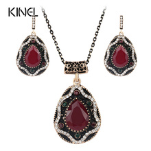 2017 Vintage Jewelry Sets Red Resin Crystal Earrings And Necklace For Women Color Gold Unique Gift(China)