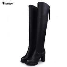 Yomior Western Style Suede Slim Boots Over The Knee High Women Snow Boots Women's Fashion Winter Thigh High Boots Shoes Woman(China)