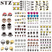 STZ 1sets 11design Halloween Designs  Cools & Lovely Stickers Skull Bone Nail Art Water Transfer Decals DIY Tattoos BLE1192-1202