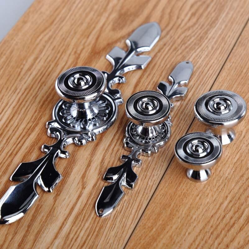 Modern Simple Fashion Knob With Backplate Furniture Handle Silver Chrome Drawer Cabinet Wardrobe Dresser Door Knob