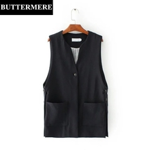 BUTTERMERE Brand Clothing Black Womens Vest Coat Sleeveless Jacket Suit Vest With Pockets Fashion Design Waistcoat Gilet Femme