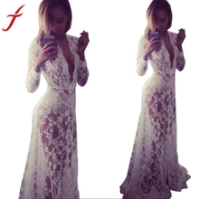 JECKSION Summer Long Beach Dree for Women Deep V-Neck Boho Maxi Lace Dresses Fashion Party Dress Beach Dresses #LSIW(China)